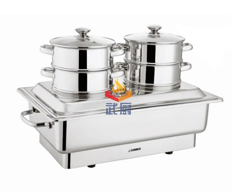 不锈钢电热双头蒸炉自助餐炉